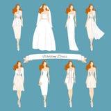 Wedding установленные платья притяжки иллюстрация вектора