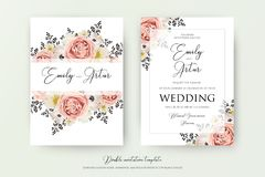 Wedding флористическая двойная акварель приглашает, приглашение, сохраняет da иллюстрация вектора