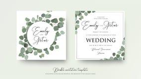 Wedding флористический двойник стиля акварели приглашает, приглашение, спасение бесплатная иллюстрация