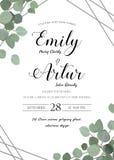 Wedding флористический стиль акварели приглашает, приглашение, сохраняет dat Стоковые Фото