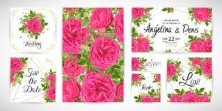 Wedding флористический шаблон приглашает также вектор иллюстрации притяжки corel Стоковое Изображение