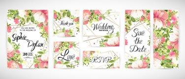 Wedding флористический шаблон приглашает также вектор иллюстрации притяжки corel Стоковые Фотографии RF