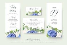Wedding флористическое личное меню, место, информация, дизайн карточки номера таблицы установило с элегантными голубыми цветками  иллюстрация вектора