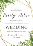 Wedding флористическое приглашение, пригласите, сохраньте шаблон даты Vecto Стоковое Изображение RF