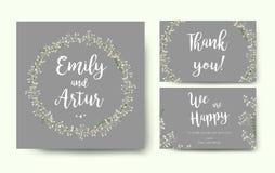 Wedding флористическое приглашение приглашает дизайн серебряного серого цвета карточки цветка Стоковые Фото
