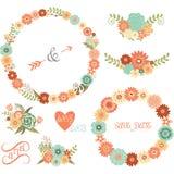Wedding флористические элементы, стрелки, цветки, венки Стоковая Фотография