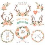 Wedding флористические элементы Antlers Стоковое Изображение