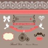 Wedding шаблон дизайна с границей Пейсли, лентой, милым элементом иллюстрация вектора