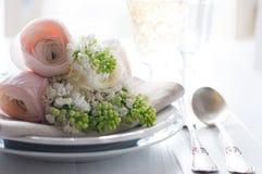 Wedding элегантная установка обеденного стола Стоковое Изображение