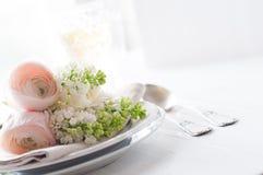 Wedding элегантная установка обеденного стола Стоковое Фото