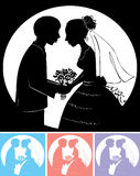 Wedding. Silhouette of the groom with the bride royalty free illustration