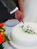 Wedding. Cake - cutting the cake Stock Image