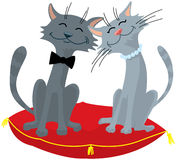 Wedding. The groom and the bride. Cat's wedding stock illustration