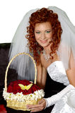 Wedding 12. Red-hair woman taking flowers with butterfly Royalty Free Stock Images