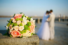 Wedding. Walk along the promenade, the newlyweds kiss Stock Photography