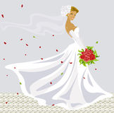 Wedding. Happy beautiful young bride with bouquet Royalty Free Stock Images