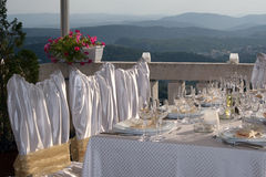 Wedding. Fancy table set for a wedding Royalty Free Stock Photo