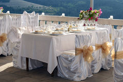 Wedding. Fancy table set for a wedding Stock Photography