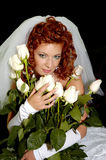 Wedding 15. My lovely wife with white roses Stock Photography