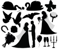 Wedding. Collection of a wedding silhouettes Stock Photography