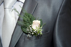 Wedding. Buttonhole in his coat pocket at the groom Royalty Free Stock Image