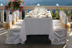 Wedding. Fancy table set for a wedding Royalty Free Stock Images