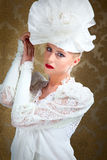 Wedding. Fine young women in white wedding dress Royalty Free Stock Images