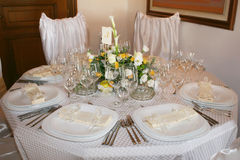 Wedding. Fancy table set for a wedding Royalty Free Stock Image
