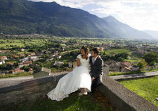 Wedding. Pictures, the couple with a panoramic view Stock Image
