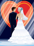 Wedding. Ceremony: bride and groom in front of symbol of love vector illustration