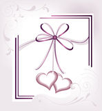 Wedding. Two heart on white background. Wedding card Royalty Free Stock Images