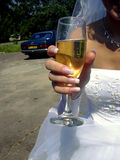 Wedding 3. Fiancee with glass royalty free stock photography