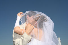 Wedding. Kiss of a newly-married couple on a background of the dark blue sky Stock Photos