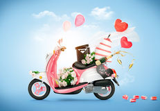 Wedding. Vintage scooter with flowers, wedding cake and champagne. Wedding. Honeymoon Stock Photo