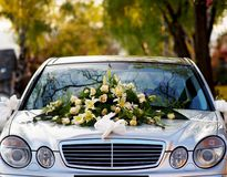 Wedding. Car decoration for wedding with big bouquet Stock Photography