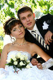 Wedding. Newly married together in a photo pose Stock Images