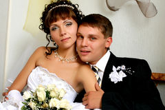 Wedding. Newly married together in a photo pose Stock Photography