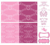 Комплект wedding безшовные картины - орнаменты с обручальными кольцами Стоковое Изображение