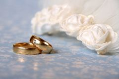 Wedding. Symbols: rings and veil Stock Photography
