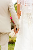 Wedding. Couple holding hands with wedding rings (just married Stock Image