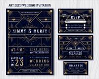 Стиль Арт Деко Wedding шаблон дизайна приглашения Стоковая Фотография RF
