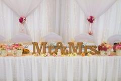 Таблица с украшением для wedding Стоковая Фотография