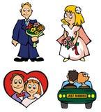 Wedding. Set of wedding pictures, vector illustration Stock Photos