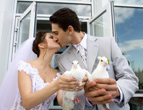 Wedding. Young happy newlyweds couple outdoors stock photography