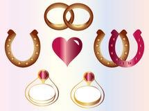 Wedding. Ring, heart, horseshoe and engagement ring Royalty Free Stock Photo