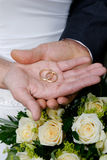 Wedding. Two hands with ring Stock Photo