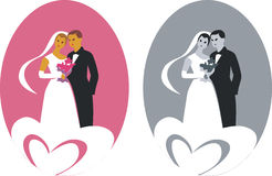 Wedding. Double wedding couples in color royalty free illustration