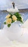 Wedding. Table decoration. Couple dolls. Inverted glass Stock Photos