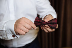 Wedding accessories. Brown Bow tie in the hands of the groom Stock Image