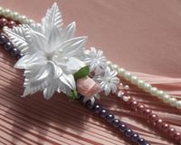 Wedding accessories:  buttonhole and a string of pearls Stock Images